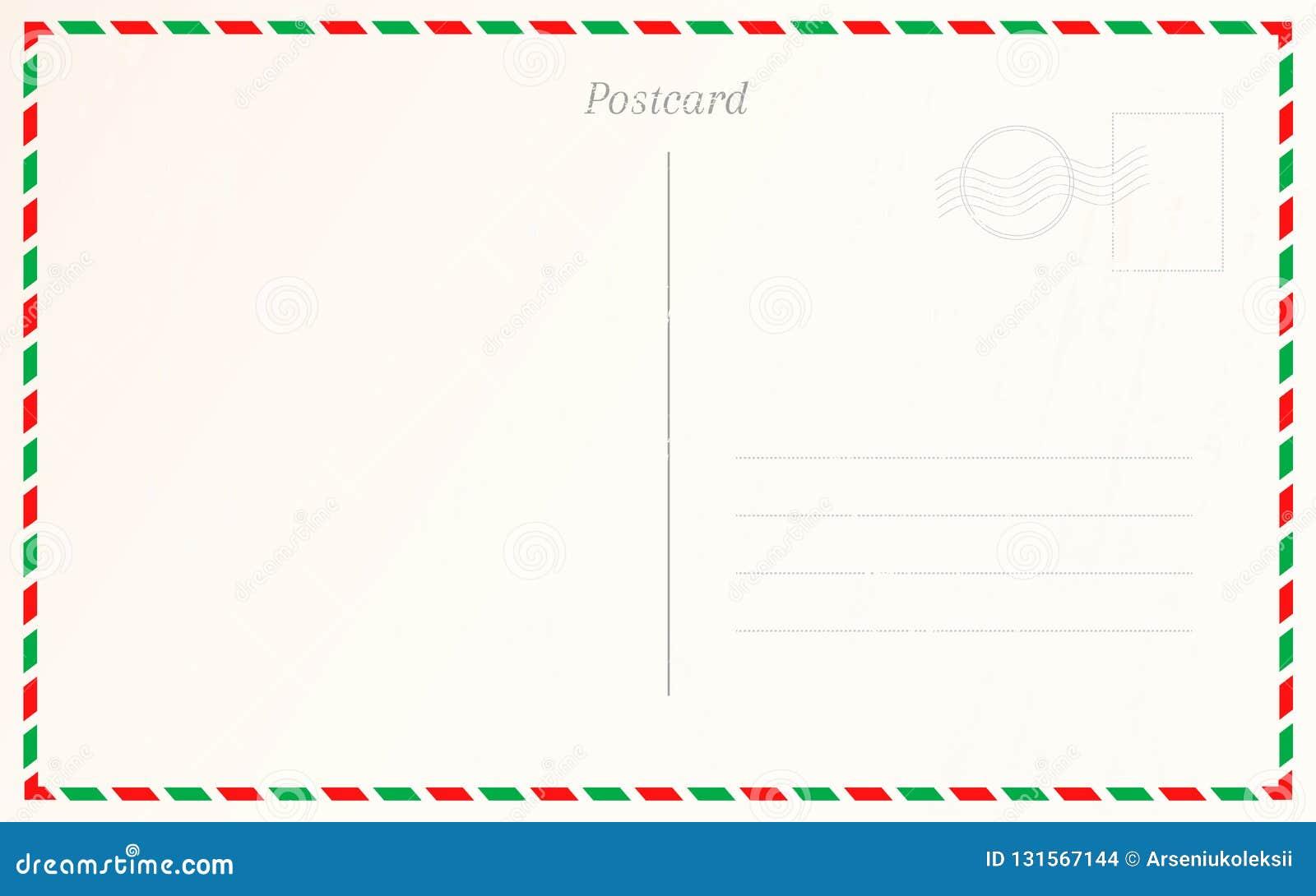 Vintage postcard border design. Travel postal card design template.