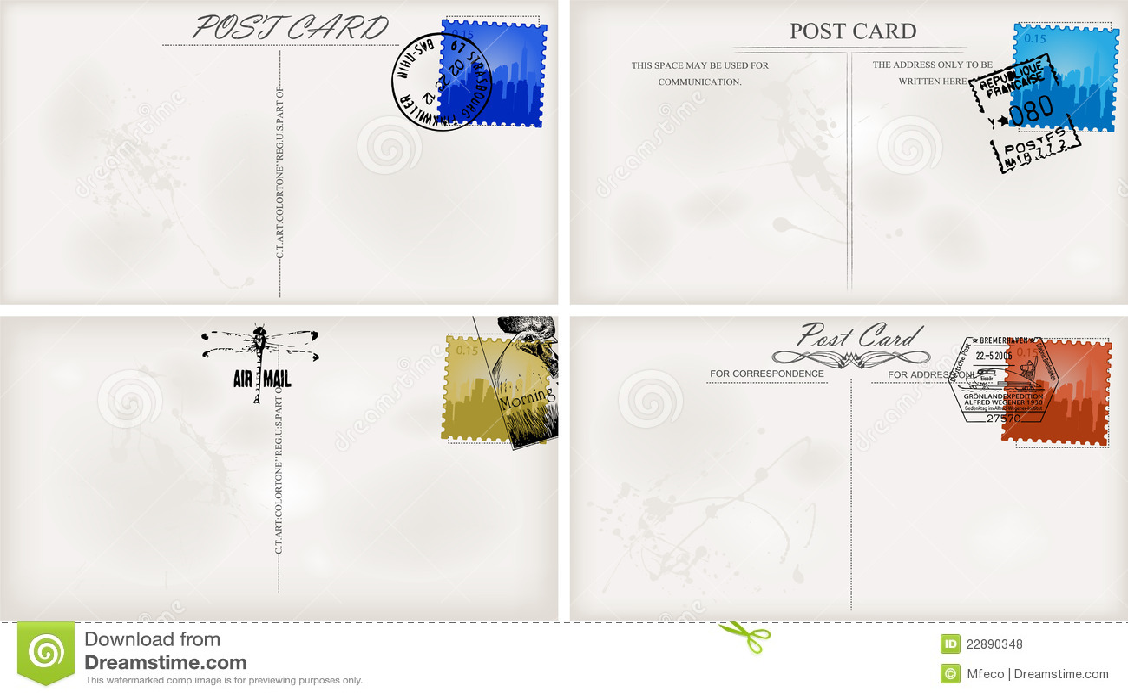 Vintage Postcard Designs Royalty Free Stock Photos Image