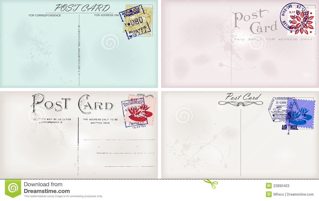 Vintage Postcard Designs And Postage Stamps For Your Text