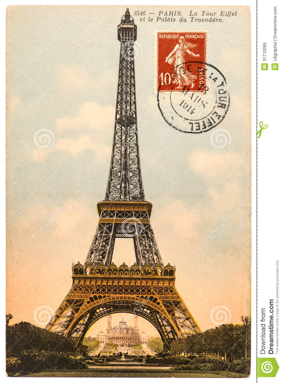 Vintage Postcard With Eiffel Tower In Paris Stock Image