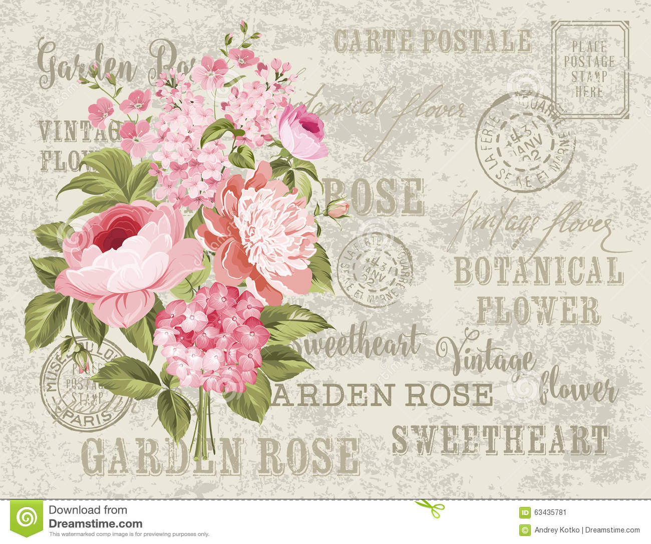 The Vintage Postcard Stock Vector Image 63435781
