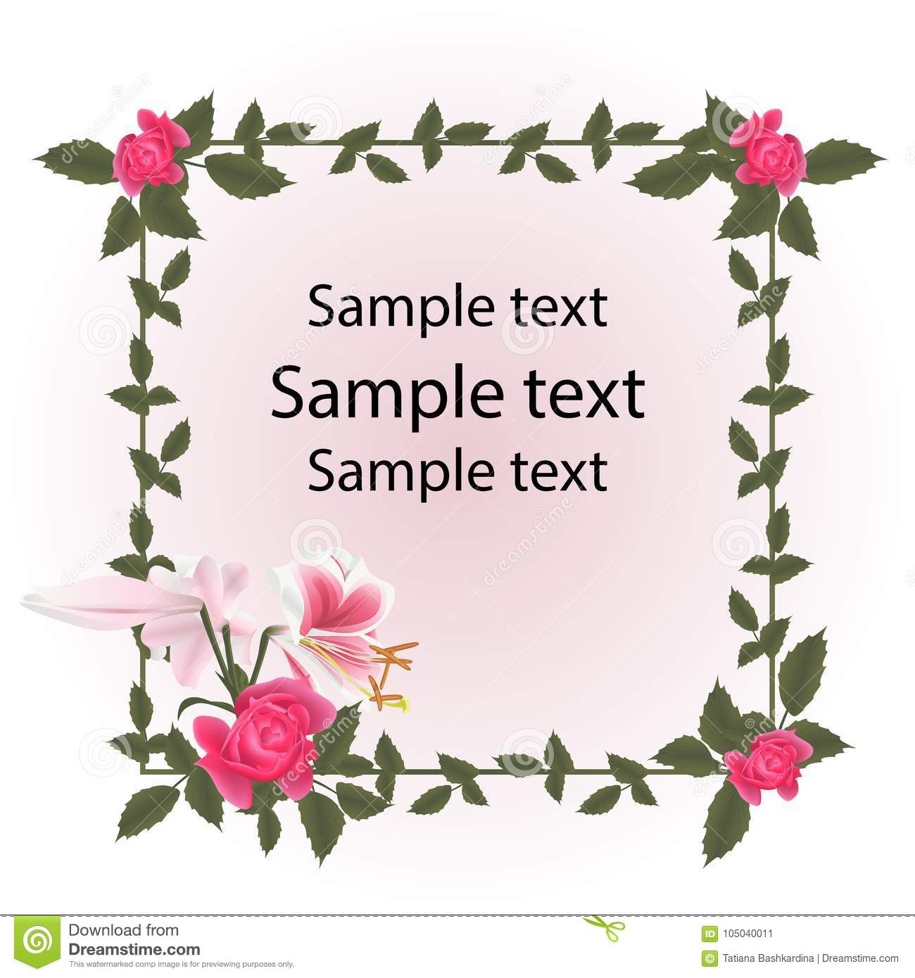 9857c940235 Red roses and lily flower are pink white. Frame of rose leaves. Free space  Sample text. Invitation design