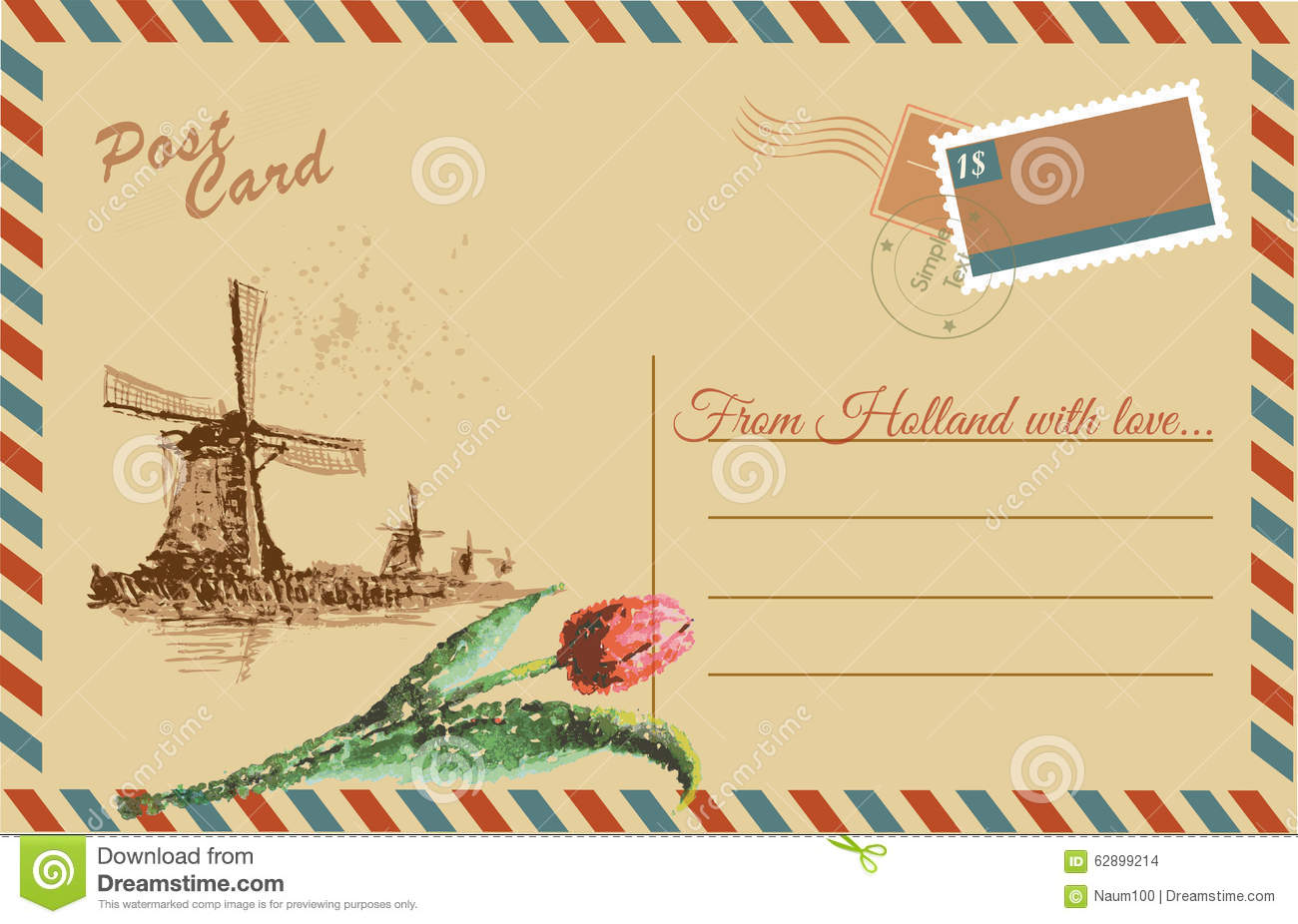 Vintage postcard with Netherlands windmill and tulips, watercolor hand ...