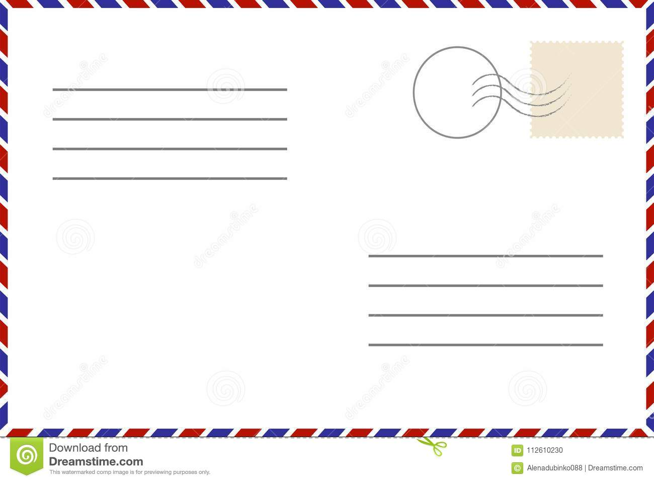Old Template. Retro Airmail Envelope With Stamp Stock Vector   Illustration