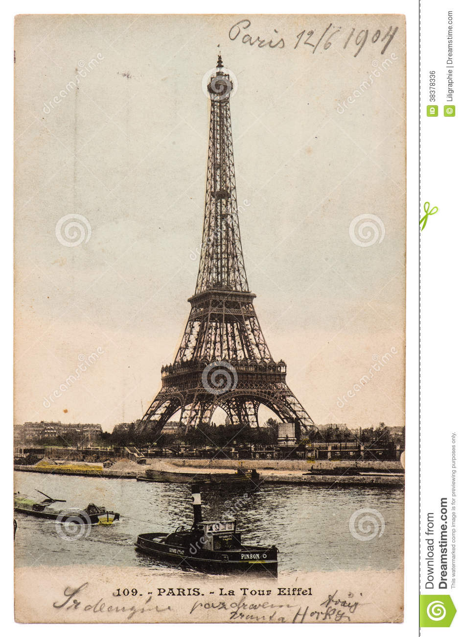 Vintage Postcard With Picture From Eiffel Tower In Paris
