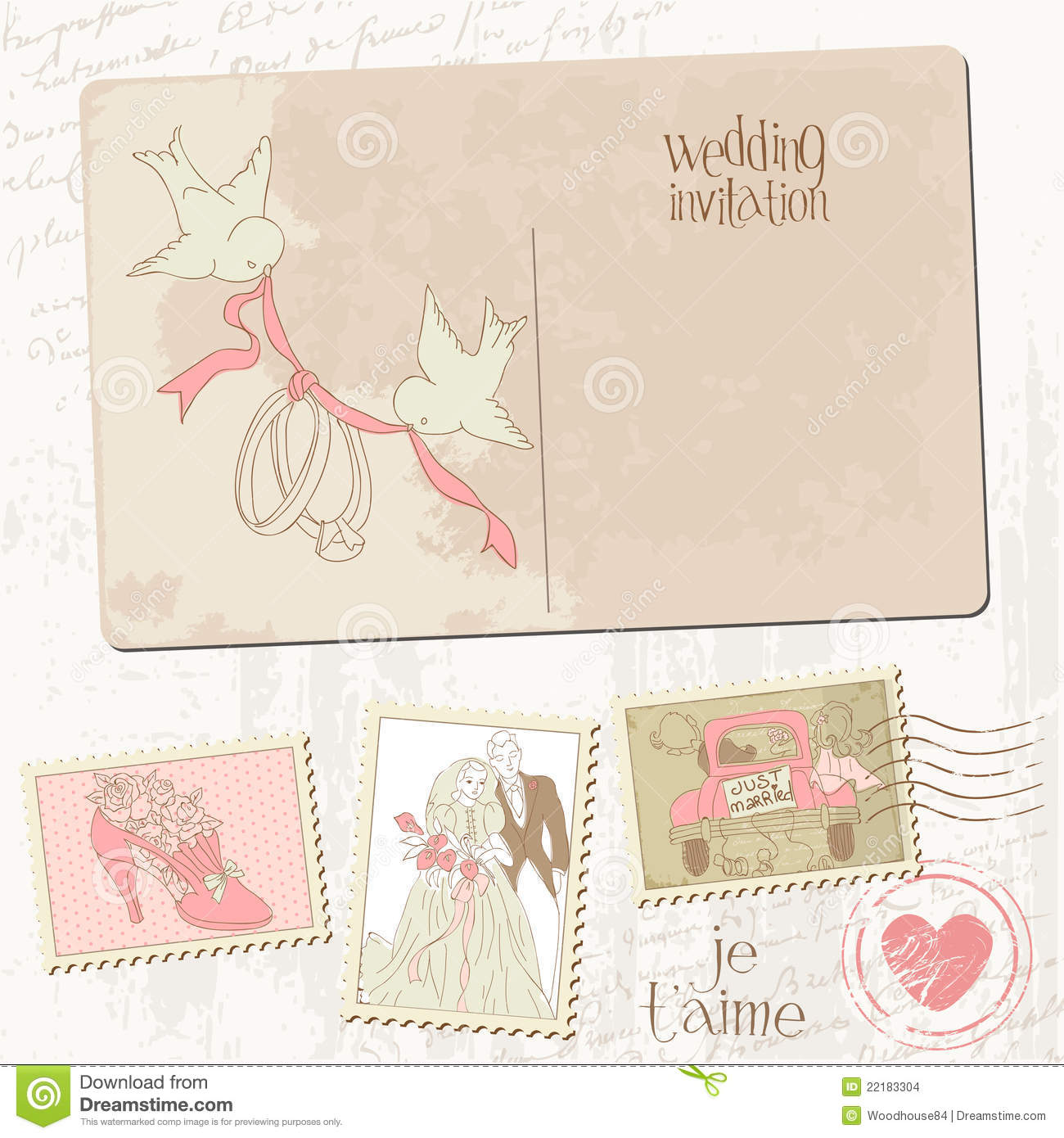 Vintage Postcard And Postage Stamps Stock Vector Image