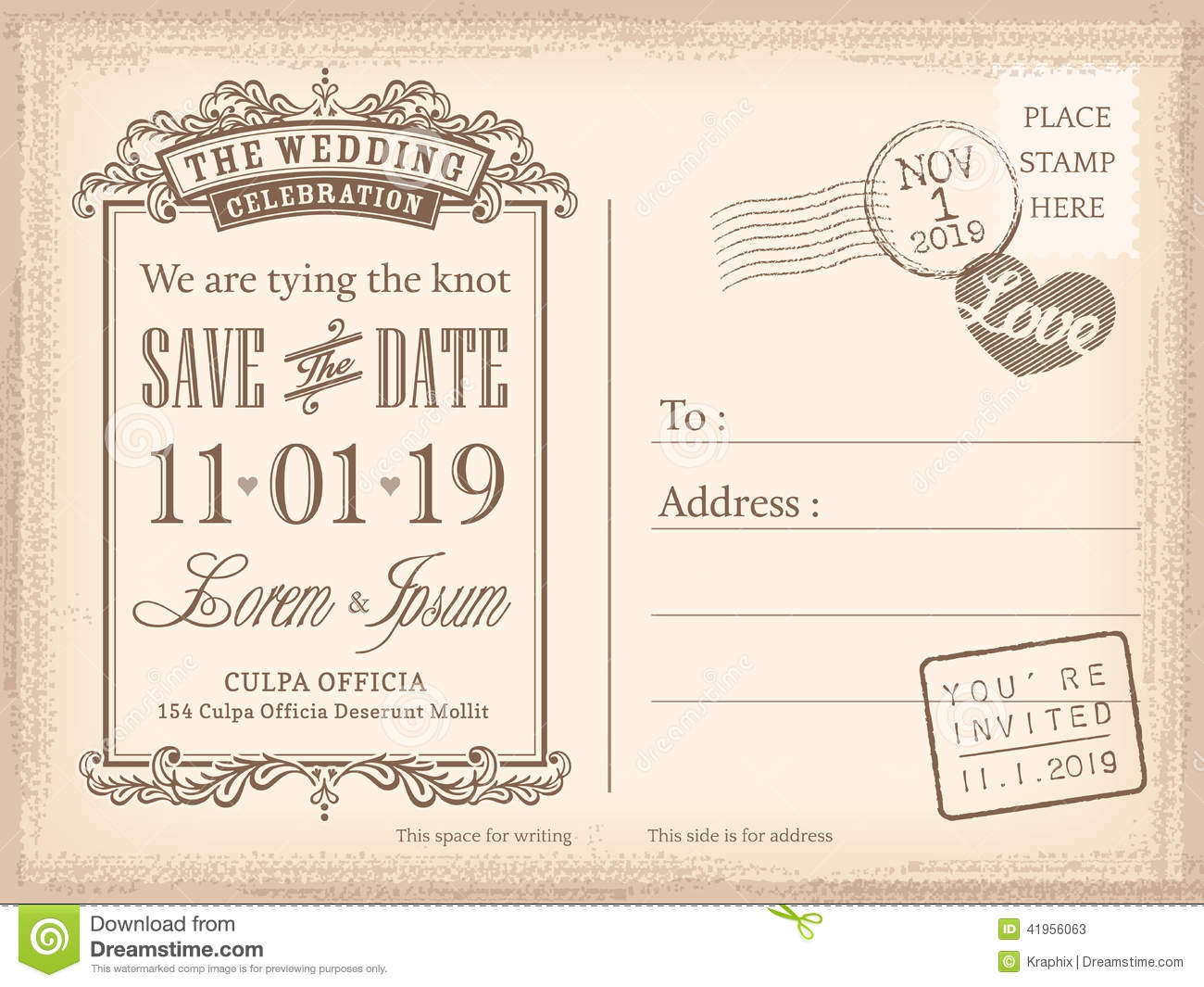 Vintage Postcard Save The Date Background For Wedding Invitation - Card template free: postcard wedding invitations template