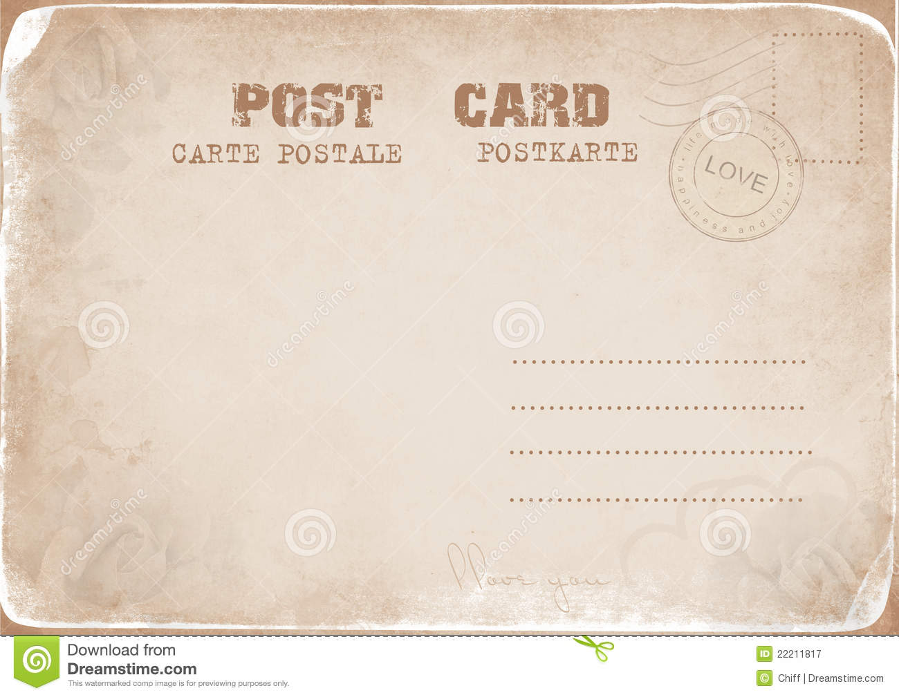 Vintage Postcard With A Stamp Of Love Royalty Free Stock ...