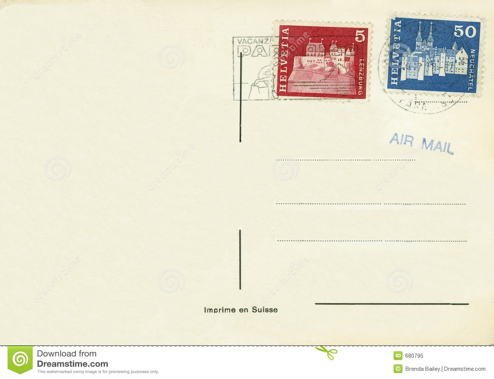 Vintage Postcard Switzerland Stock Image Image Of Antique Letter 680795