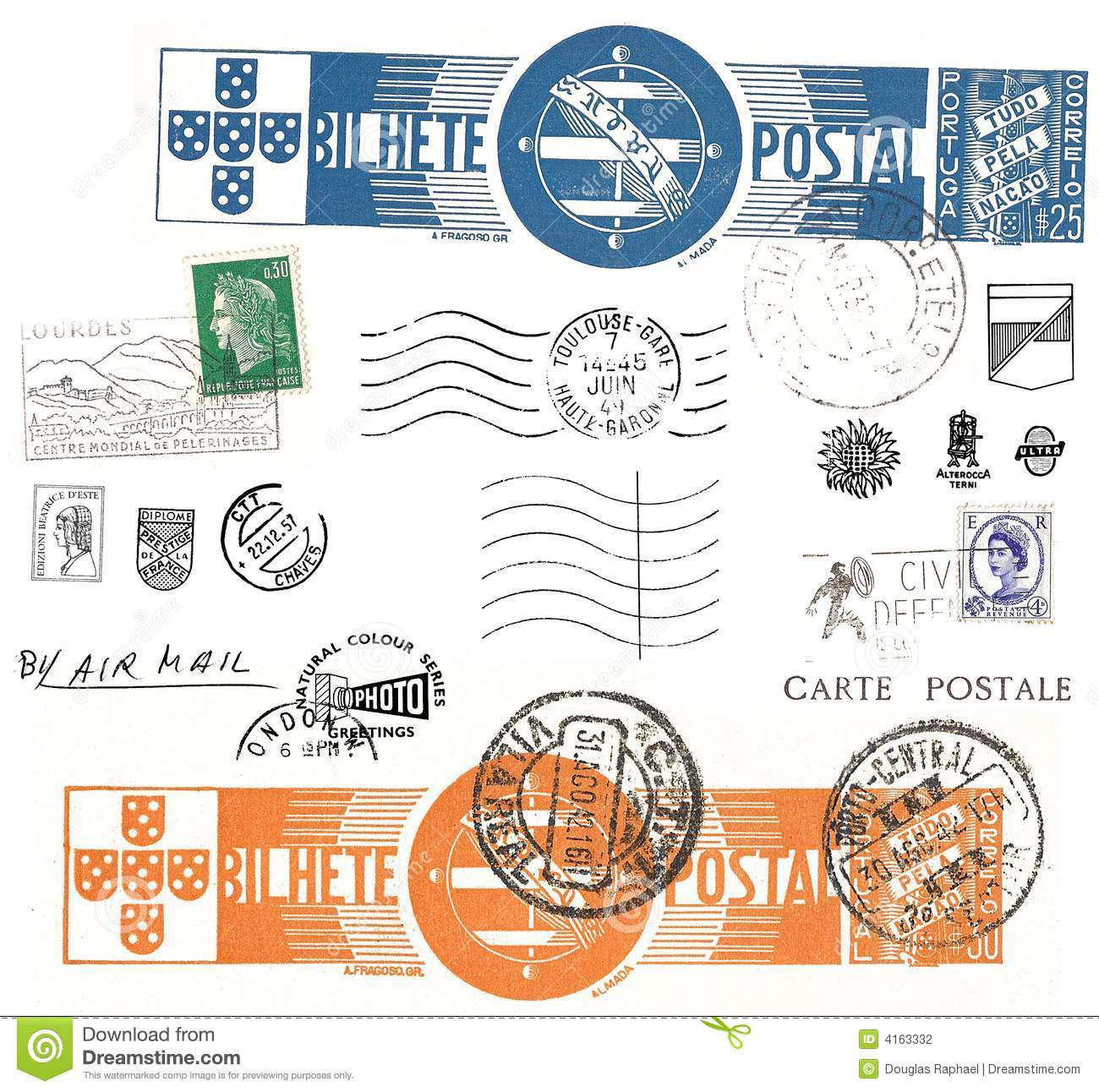 symbols of france on french stamps stock photography cartoondealer