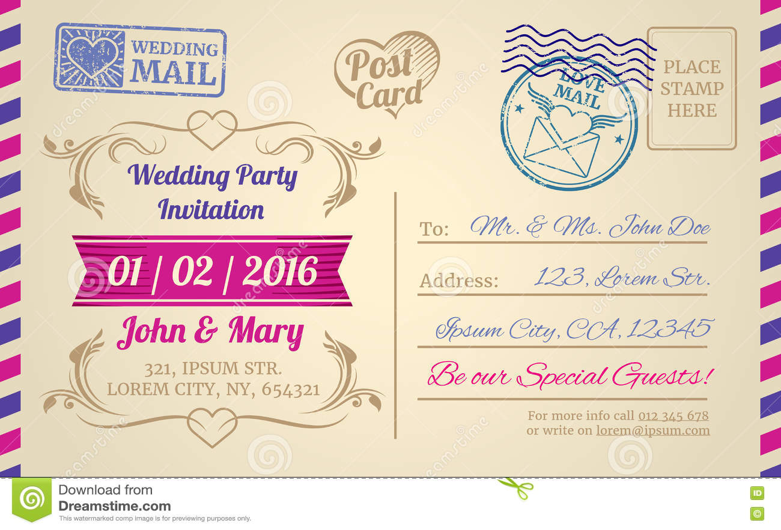 vintage postcard vector template for wedding invitation love letter