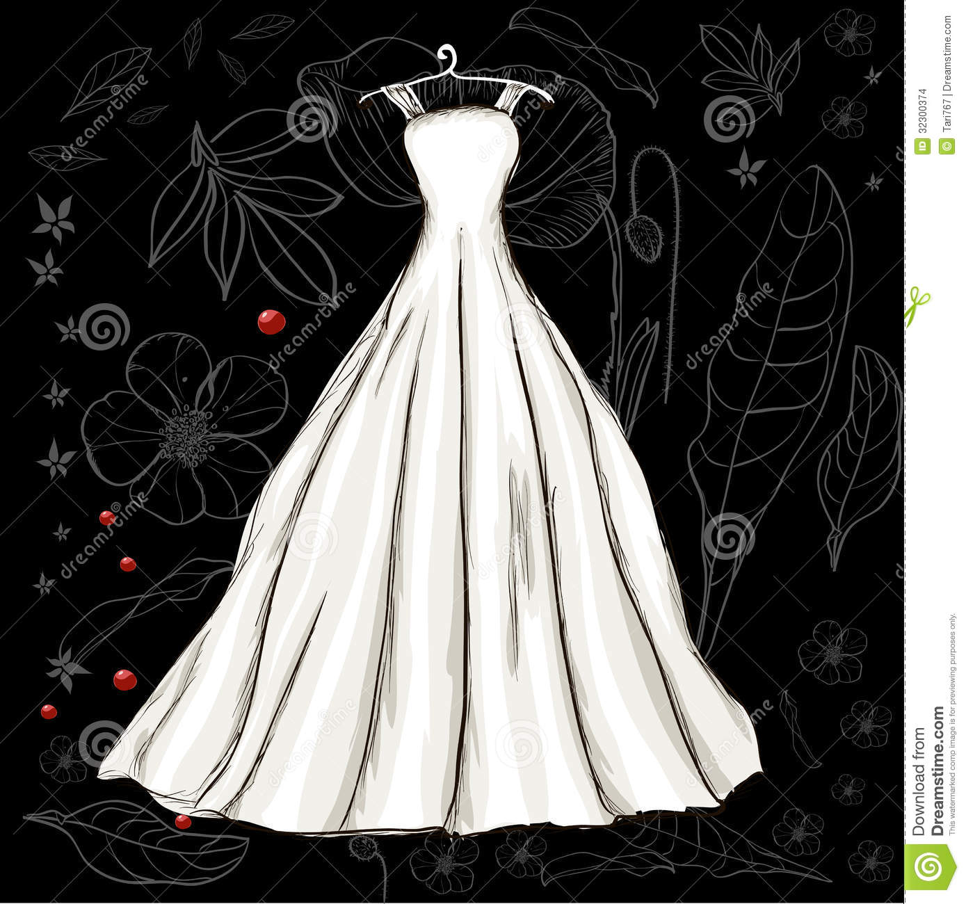Vintage Poster With Beautiful Wedding Dress Stock Images
