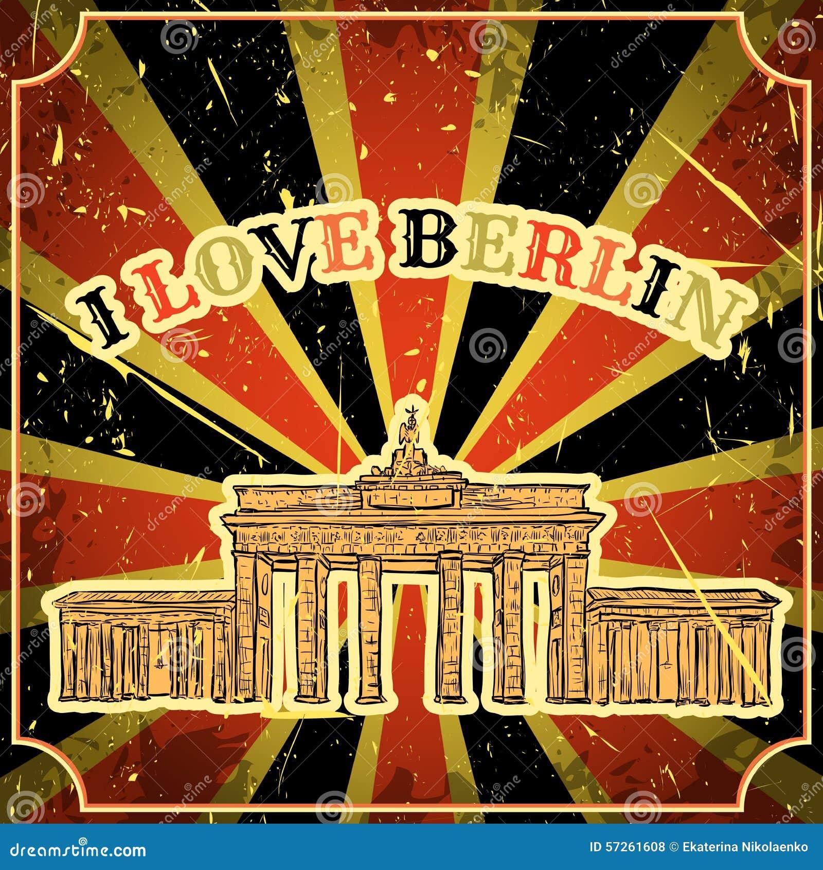 vintage poster with berlin brandenburg gate on the grunge background retro illustration in. Black Bedroom Furniture Sets. Home Design Ideas