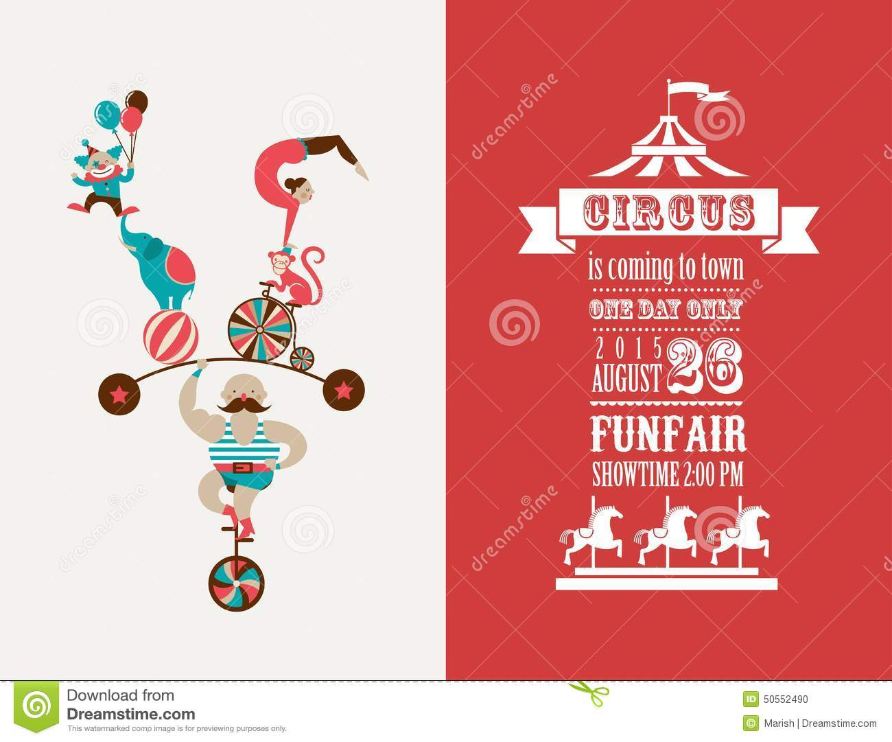 Vintage poster with carnival, fun fair, circus