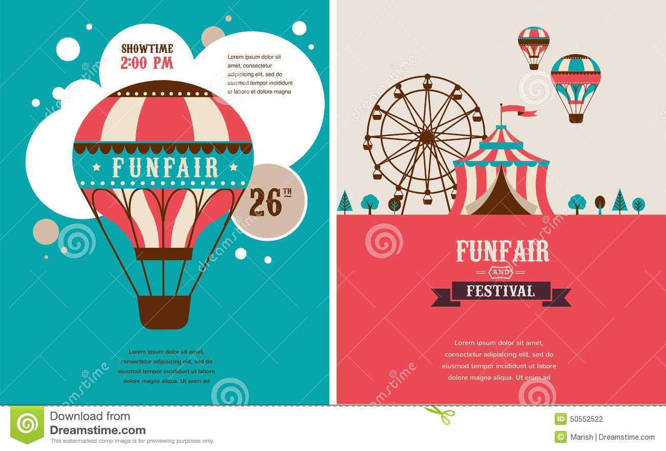 Vintage Poster With Carnival, Fun Fair, Circus Stock ...