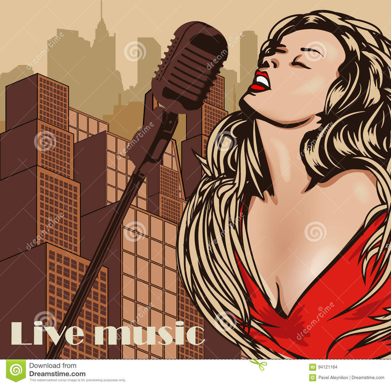 Vintage Poster With Cityscape , Retro Woman Singer And ...