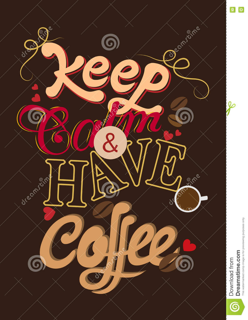 Vintage Poster Of Coffee Inspiration Quotation Stock Vector