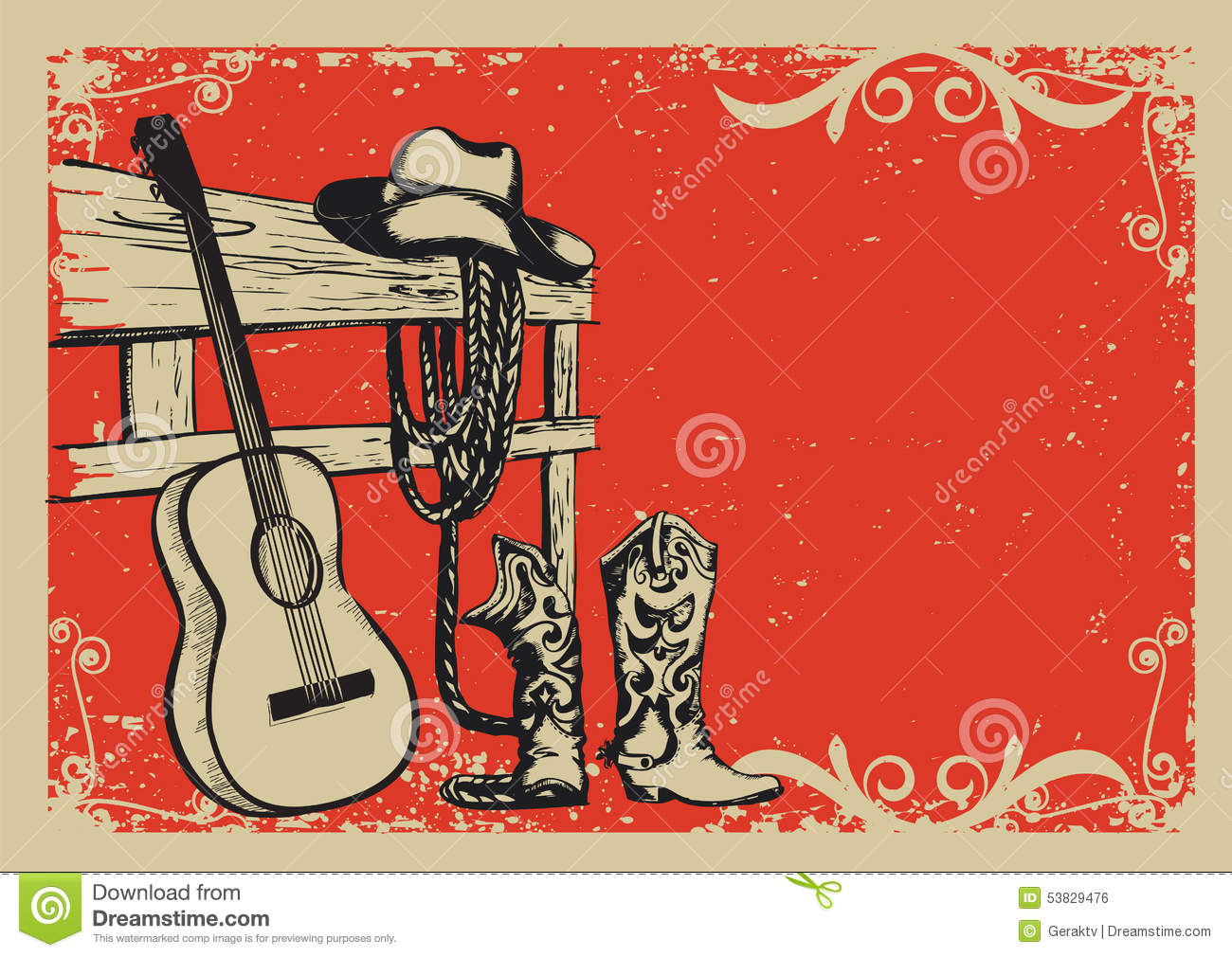 Vintage Poster With Cowboy Clothes And Music Guitar Stock Vector