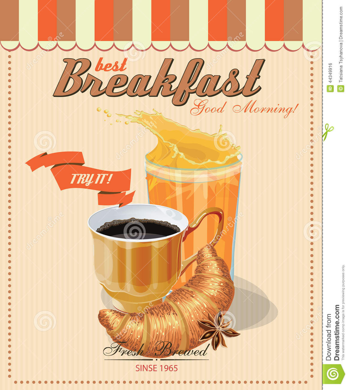 Vintage Poster With Cup Of Coffee. Vector. Breakfast Stock ...