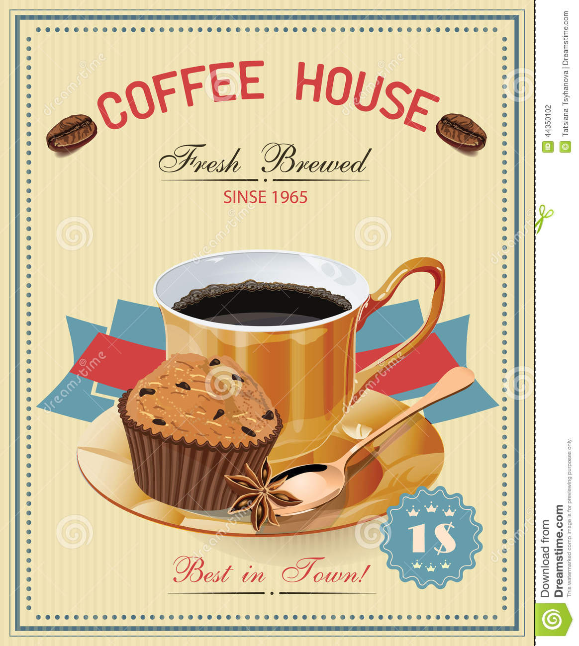 Coffee Posters Retro ~ Vintage poster with cup of coffee vector stock