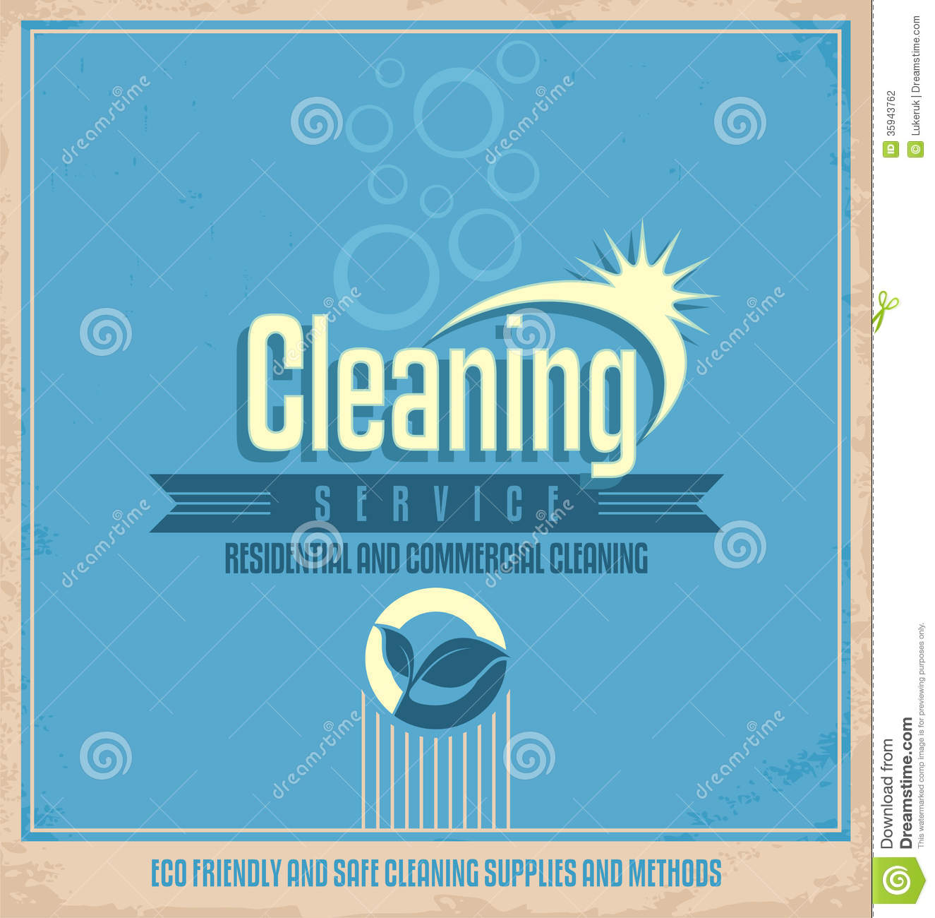 Vintage Poster Design For Cleaning Service Stock