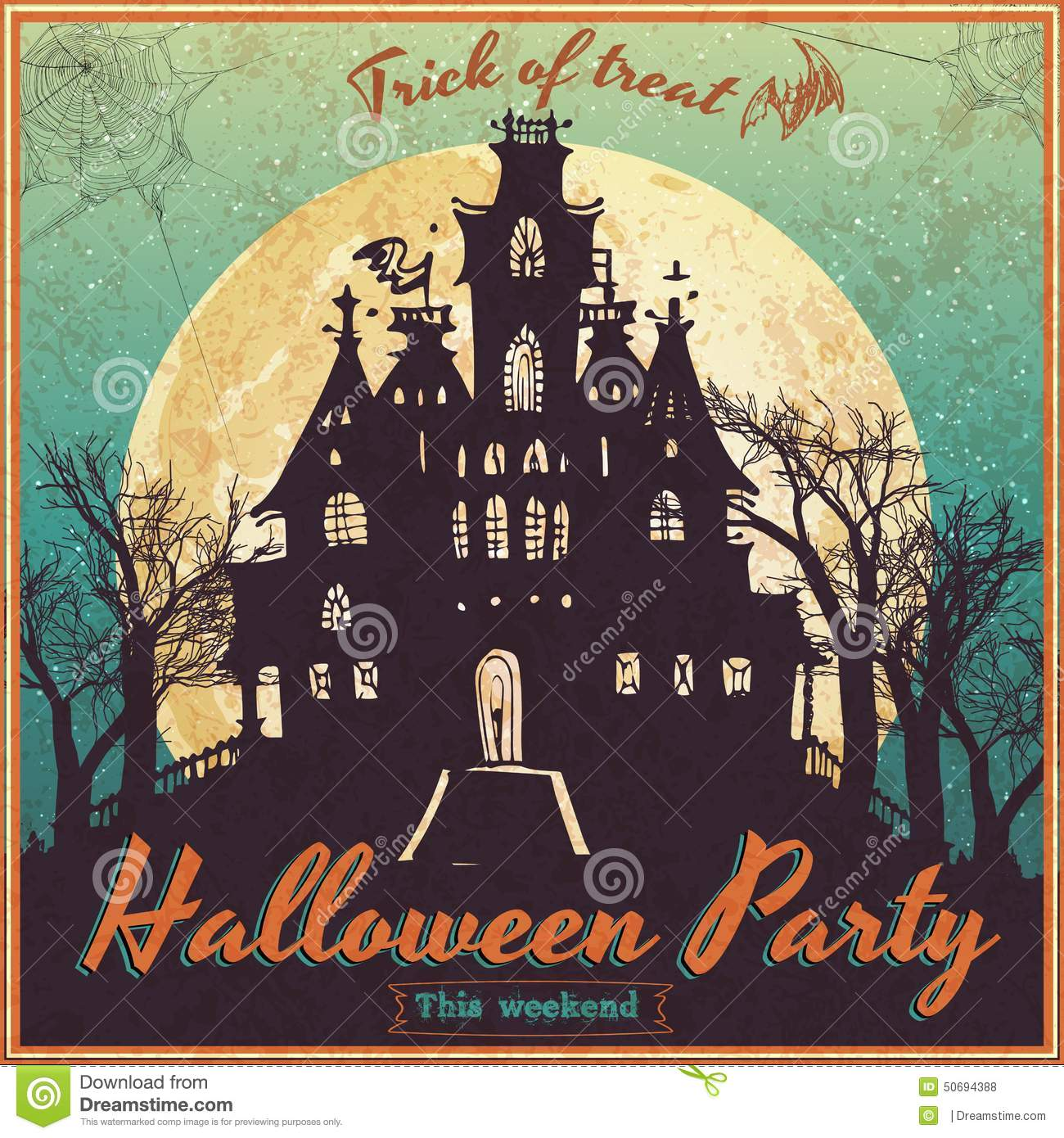 vintage poster for halloween stock vector image 50694388