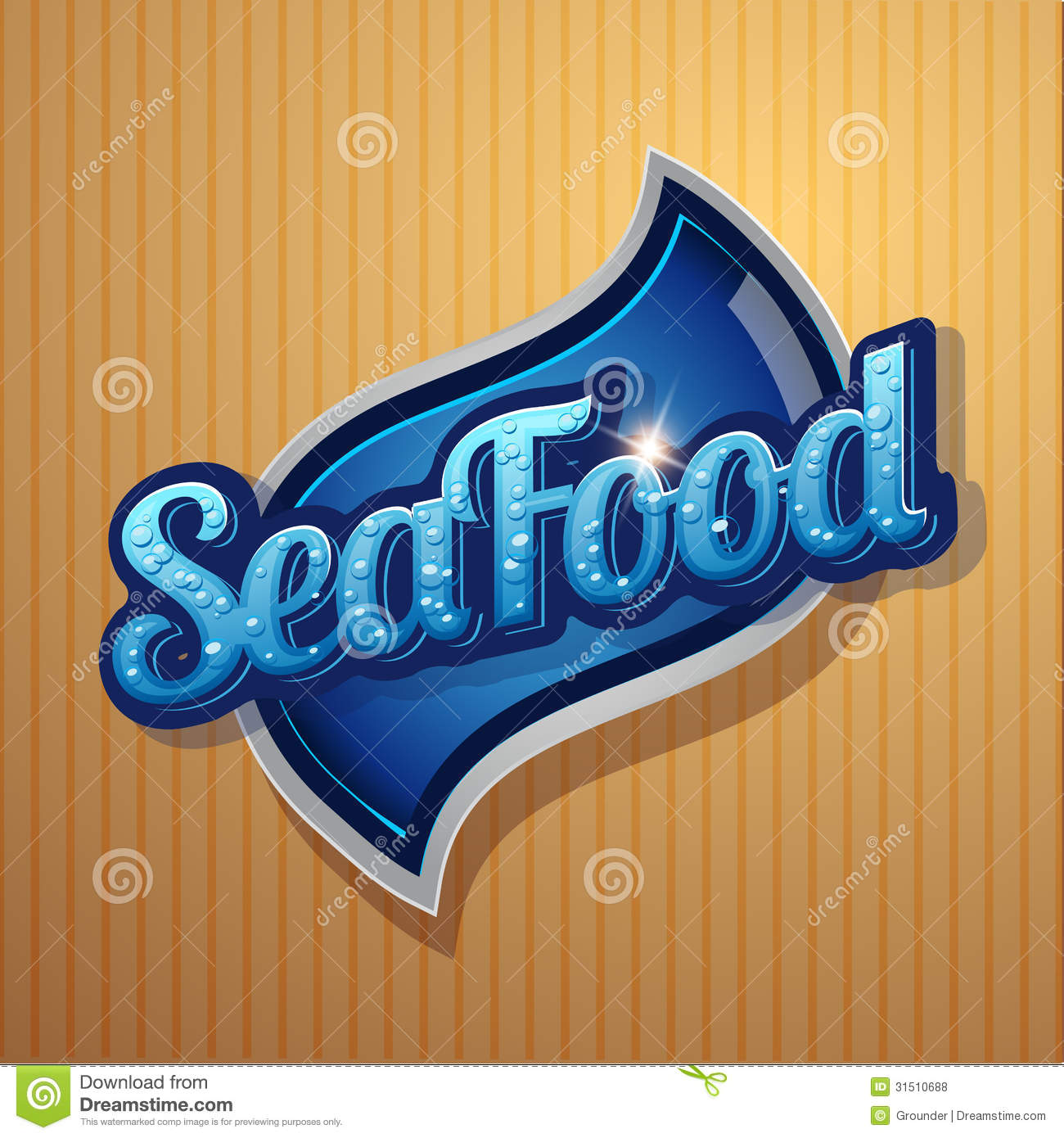 Vector Sea Food Label With Fork And Knife: Vintage Poster For Seafood Restaurant. Stock Vector