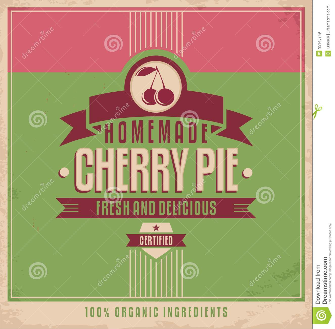 Vintage Poster Template For Cherry Pie Royalty Free Stock ...