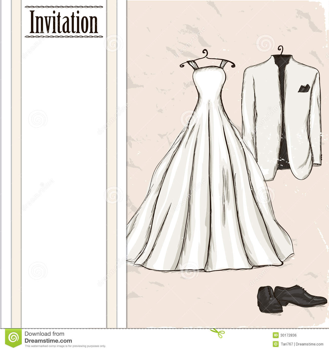 Wedding Gown Illustrations: Vintage Poster With With A Wedding Dress. Stock Vector