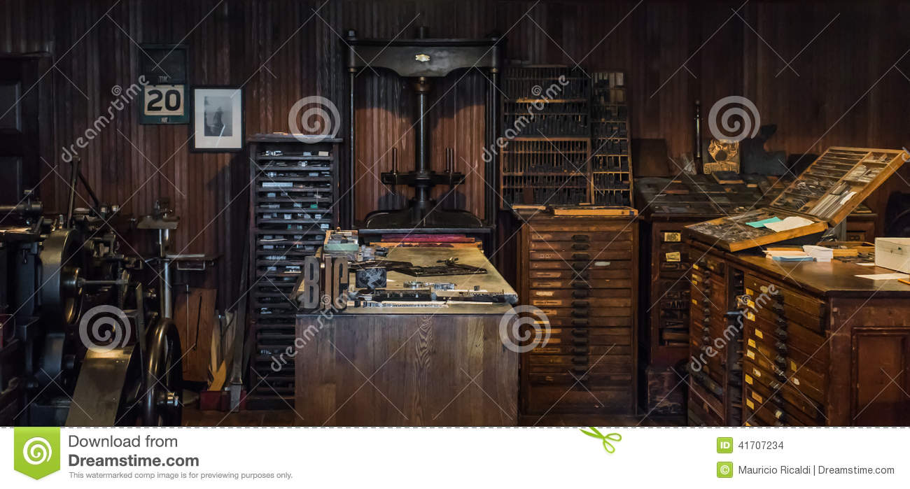 Royalty free stock photo download vintage print press room