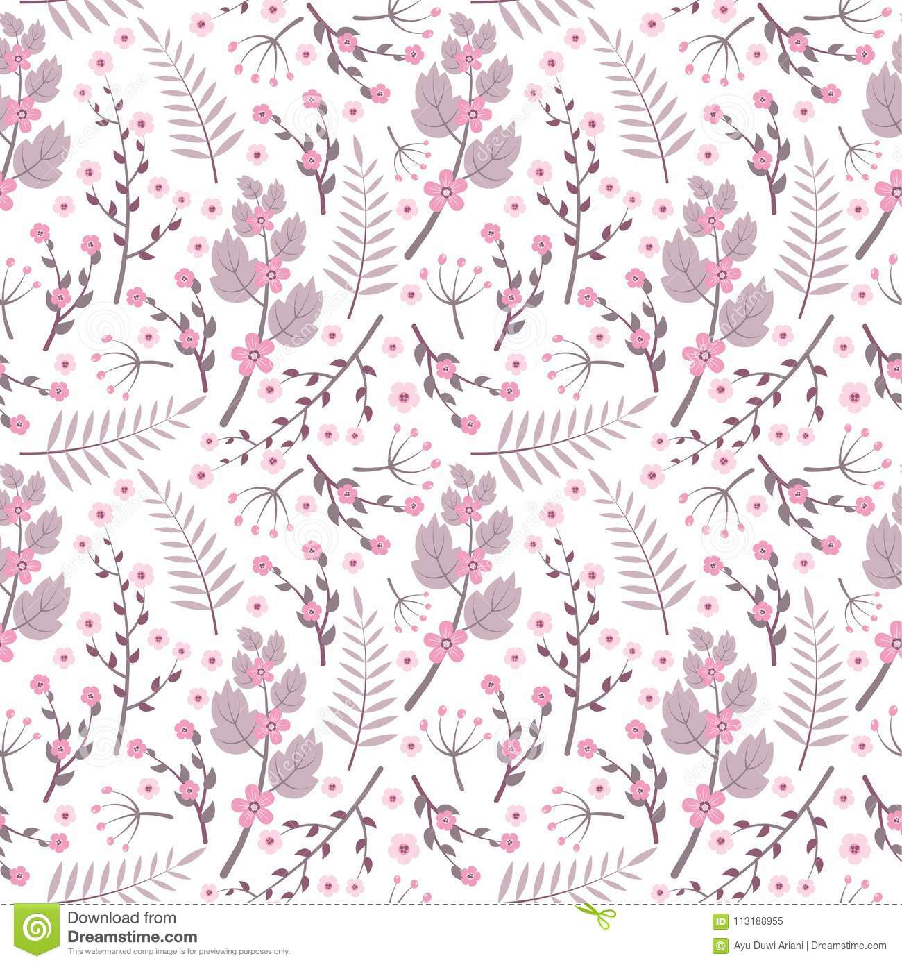 Vintage Purple Flowers Seamless Pattern On White Background Vector