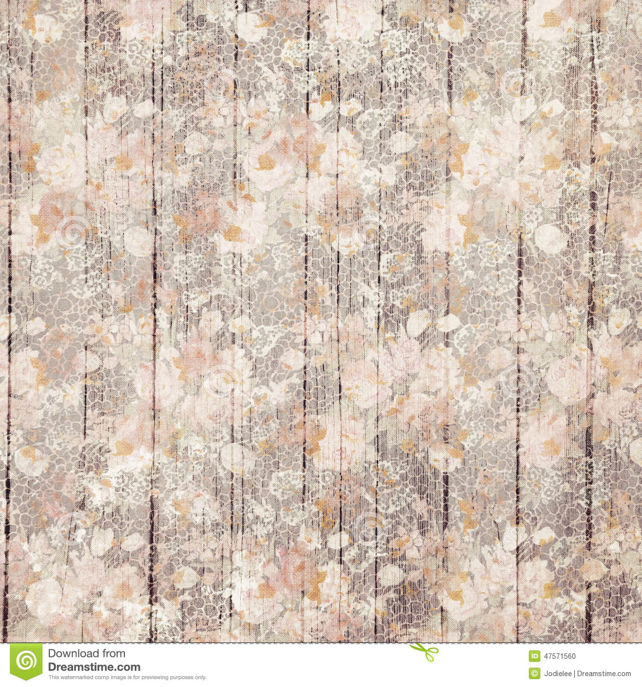 Vintage Purple Grungy Flowers And Wood Grain Background