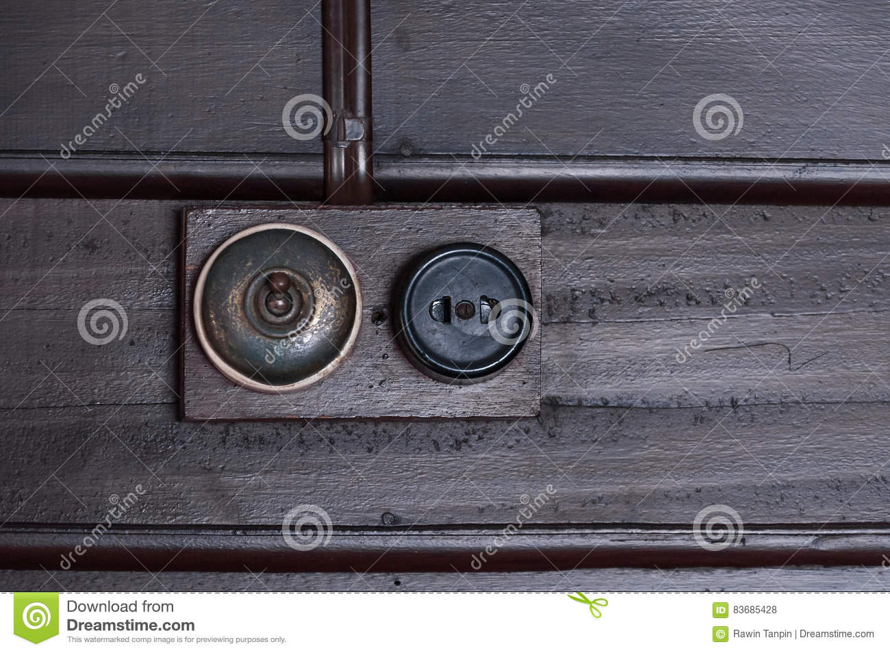 A Vintage Put Light Switch On Wooden Interior Wall Stock Photo ...