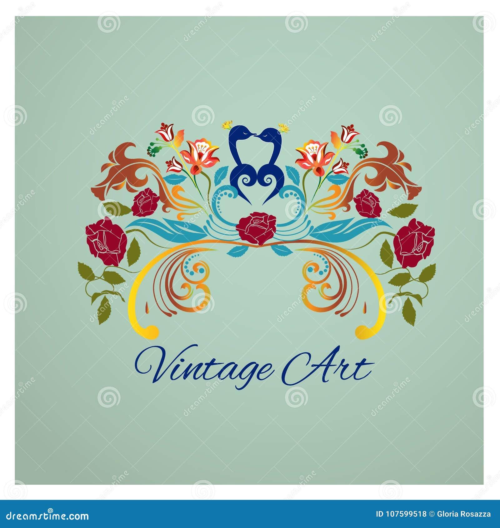 Vintage Que Besa El Logotipo De La Imagen De Los Pajaros Y De Las