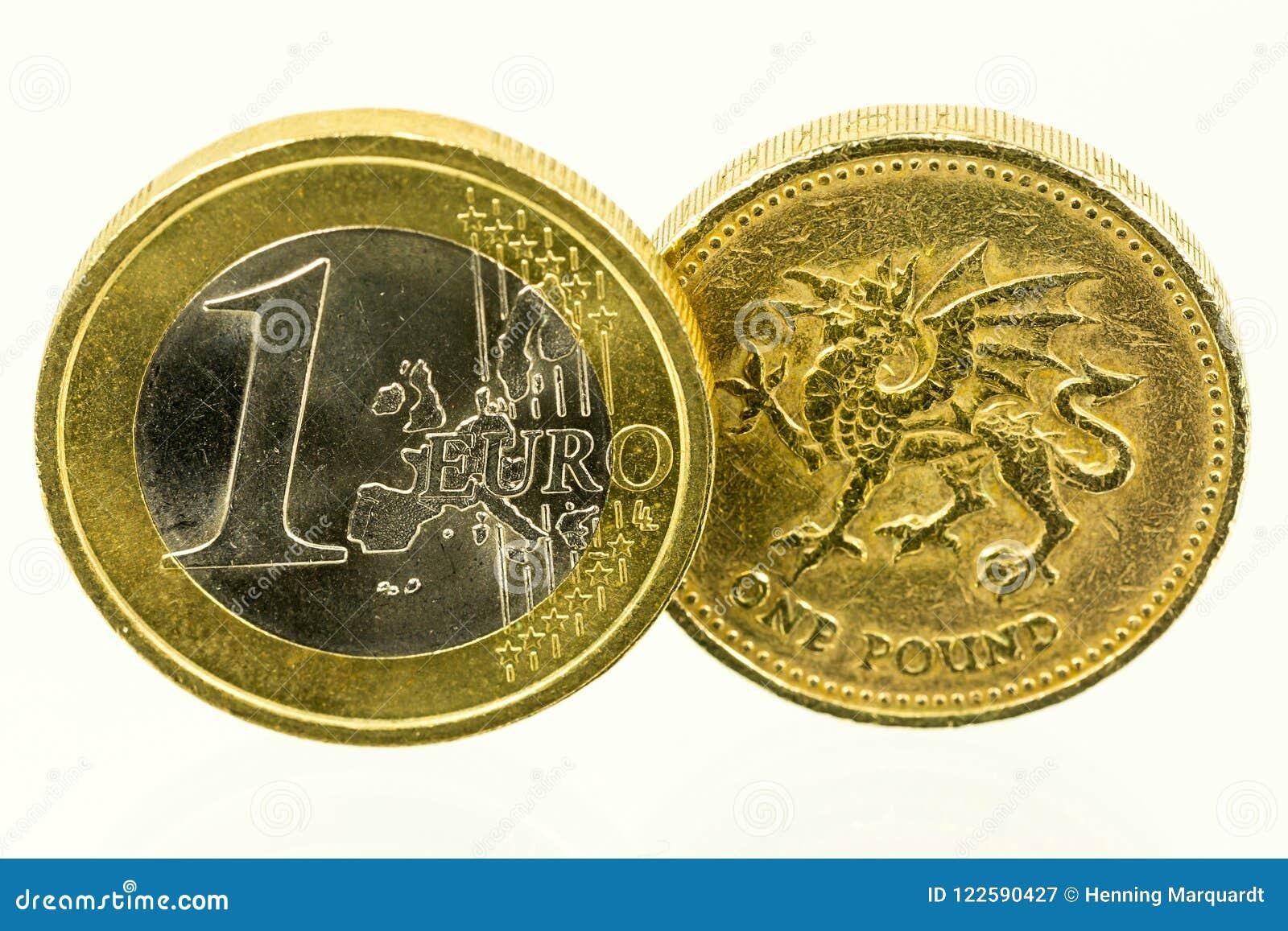 Vintage que mira monedas de libra británica; moneda del Reino Unido