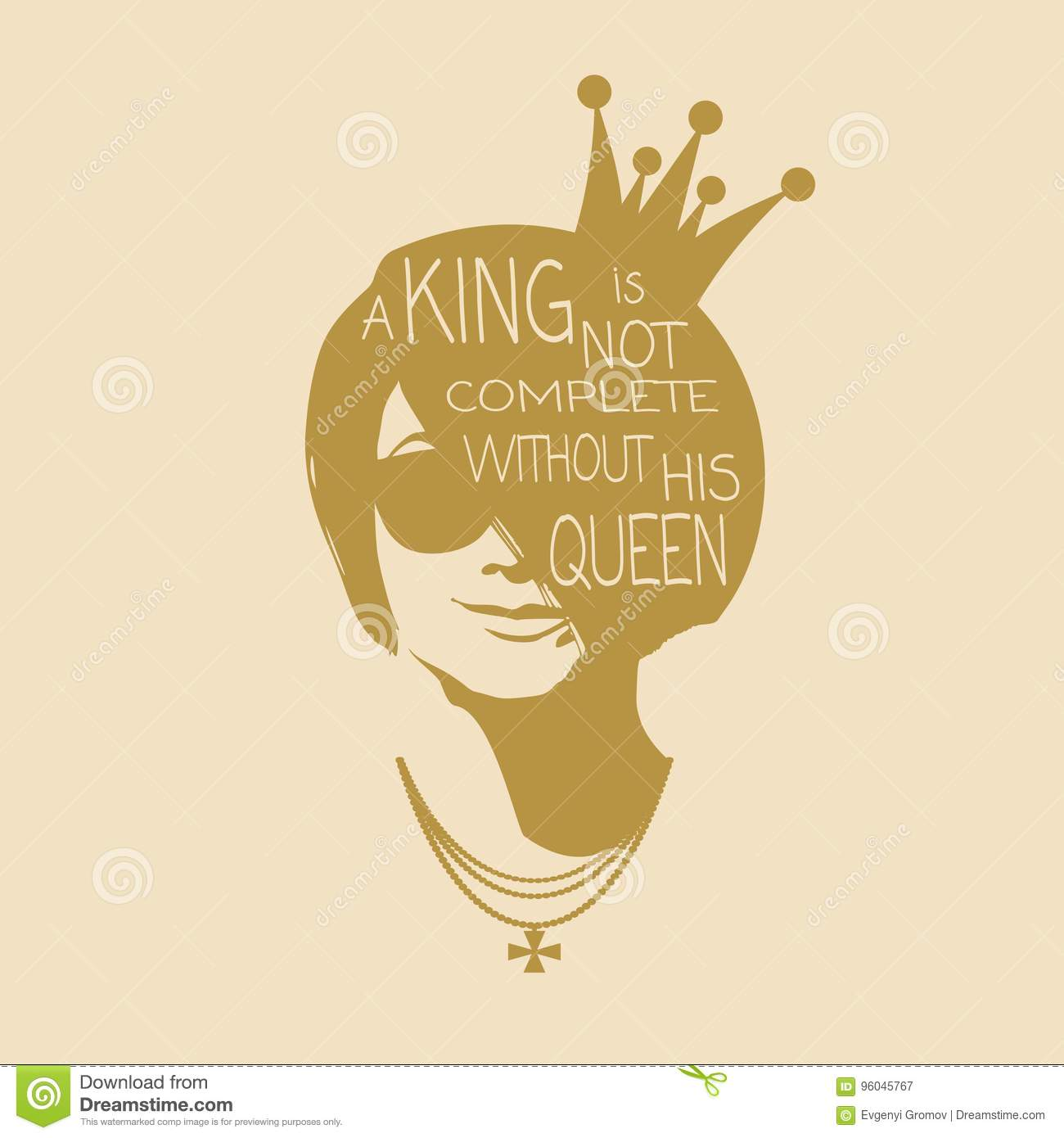 Vintage Queen Silhouette. Motivation Quote Stock Vector