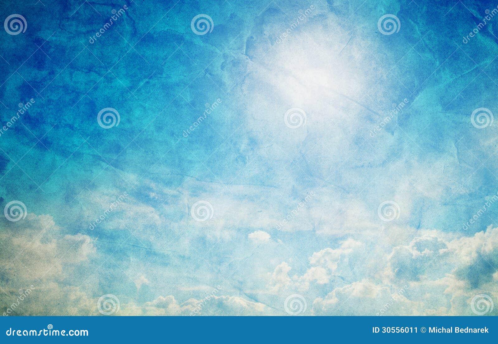 Vintage, rétro image de ciel bleu ensoleillé.