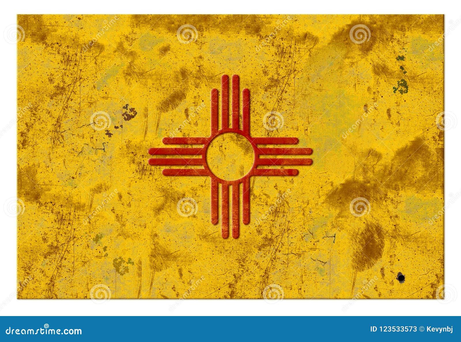 Vintage rústico de Albuquerque do Grunge da bandeira de New mexico