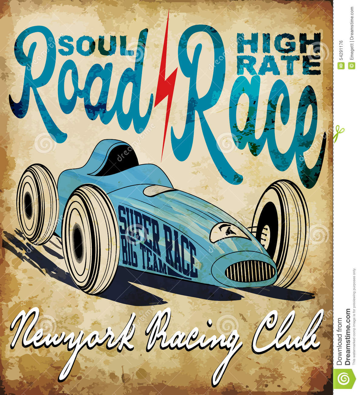 Vintage Race Car For Printing Vector Old School Race Poster Retro