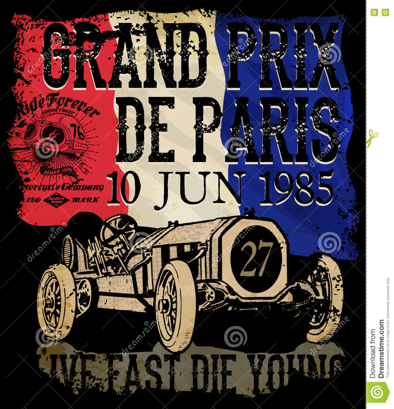 Vintage Race Car For Printing Vector Old School Race Poster Stock