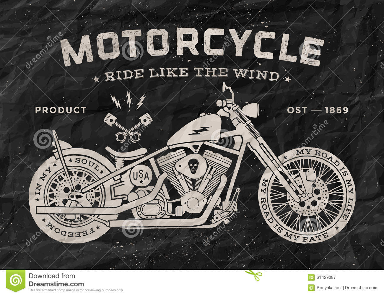 Harley Davidson Prices >> Vintage Race Motorcycle Old School Style. Black Stock Vector - Image: 61429087