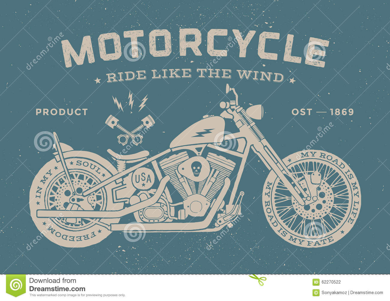Vintage race motorcycle old school style poster stock for Scritte vintage