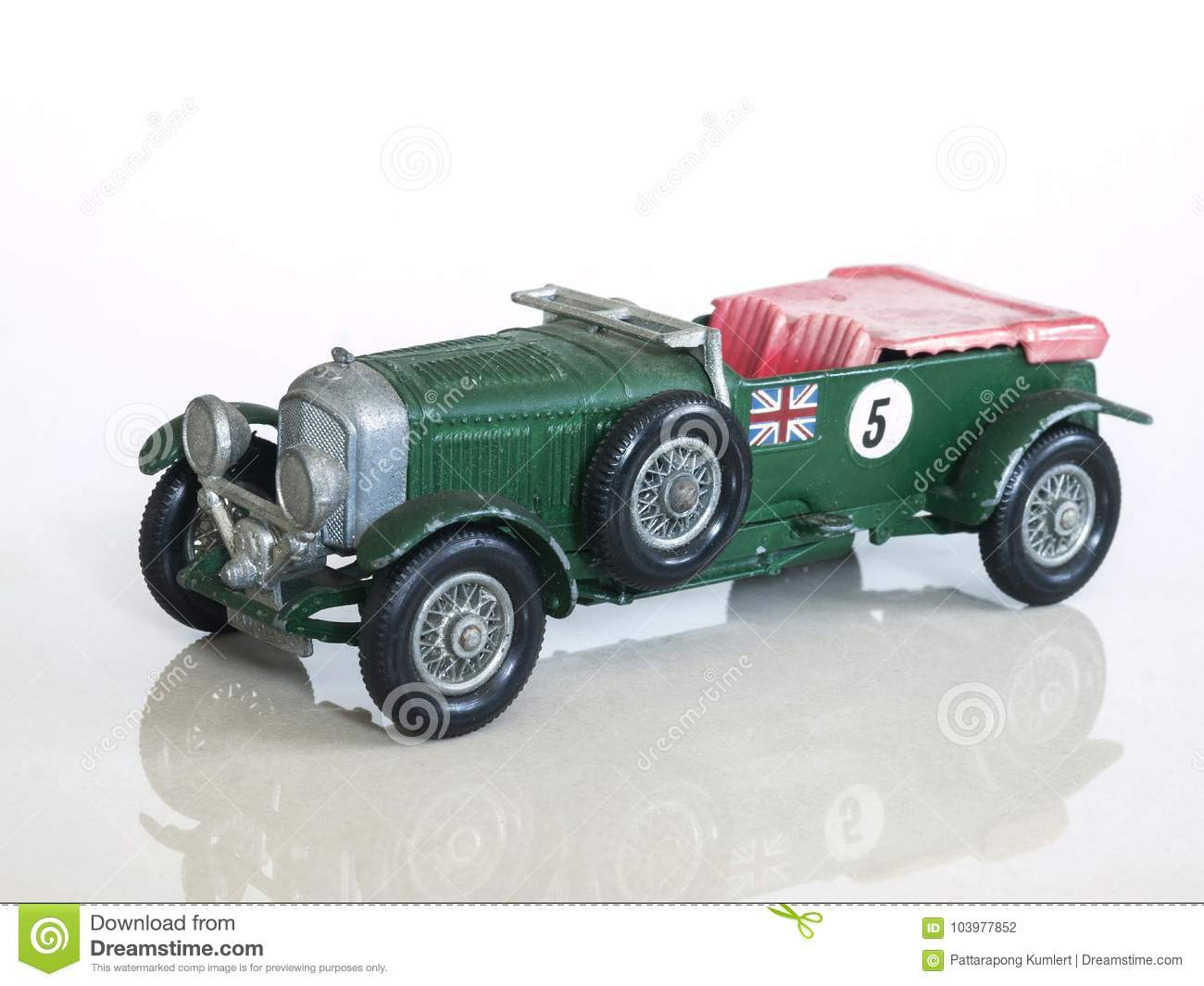 Vintage racing car toy , Bentley 4½ Litre British sports car toy model