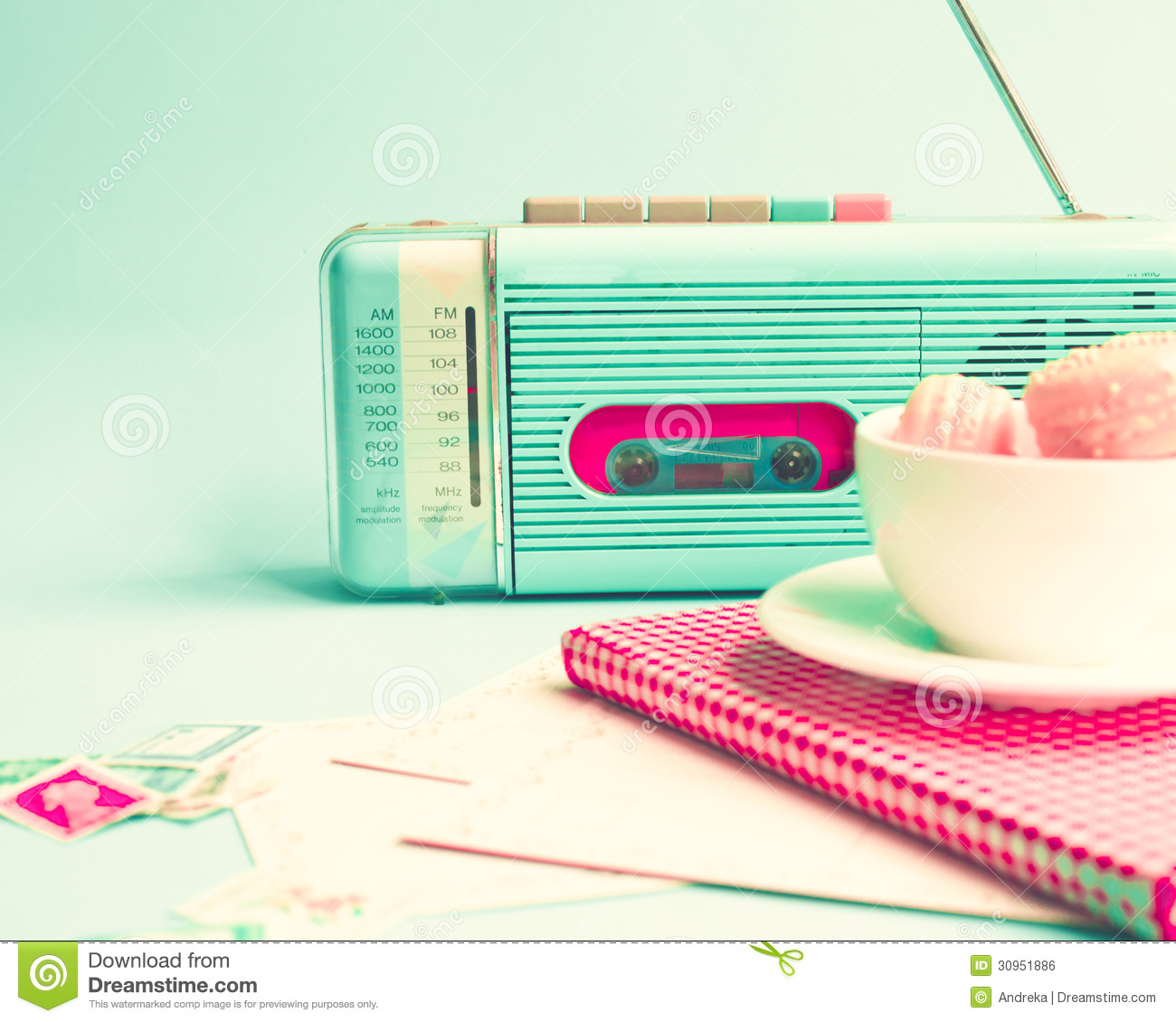 Vintage Radio, Macaroons and Book