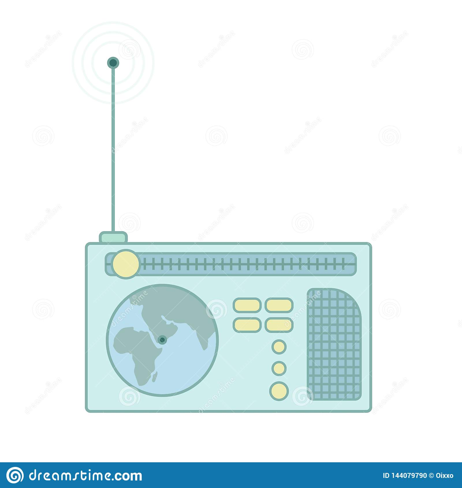 Vintage radio receiver with antenna. Vector flat icon