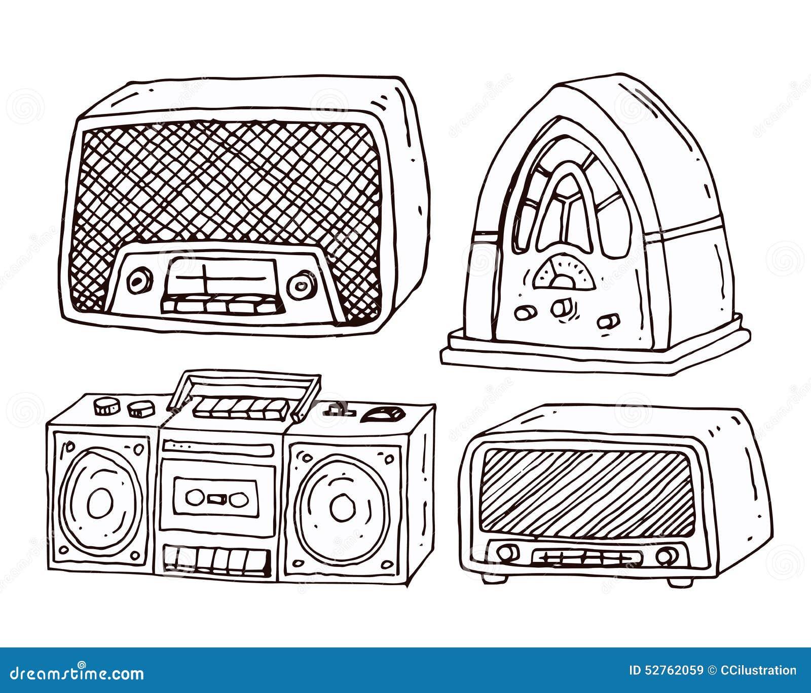 vintage radio set vector illustration stock vector. Black Bedroom Furniture Sets. Home Design Ideas