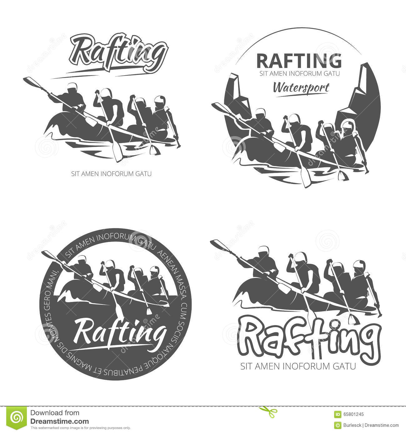 Vintage Rafting Canoe And Kayak Vector Labels Emblems Badges Set Stock Vector Image 65801245