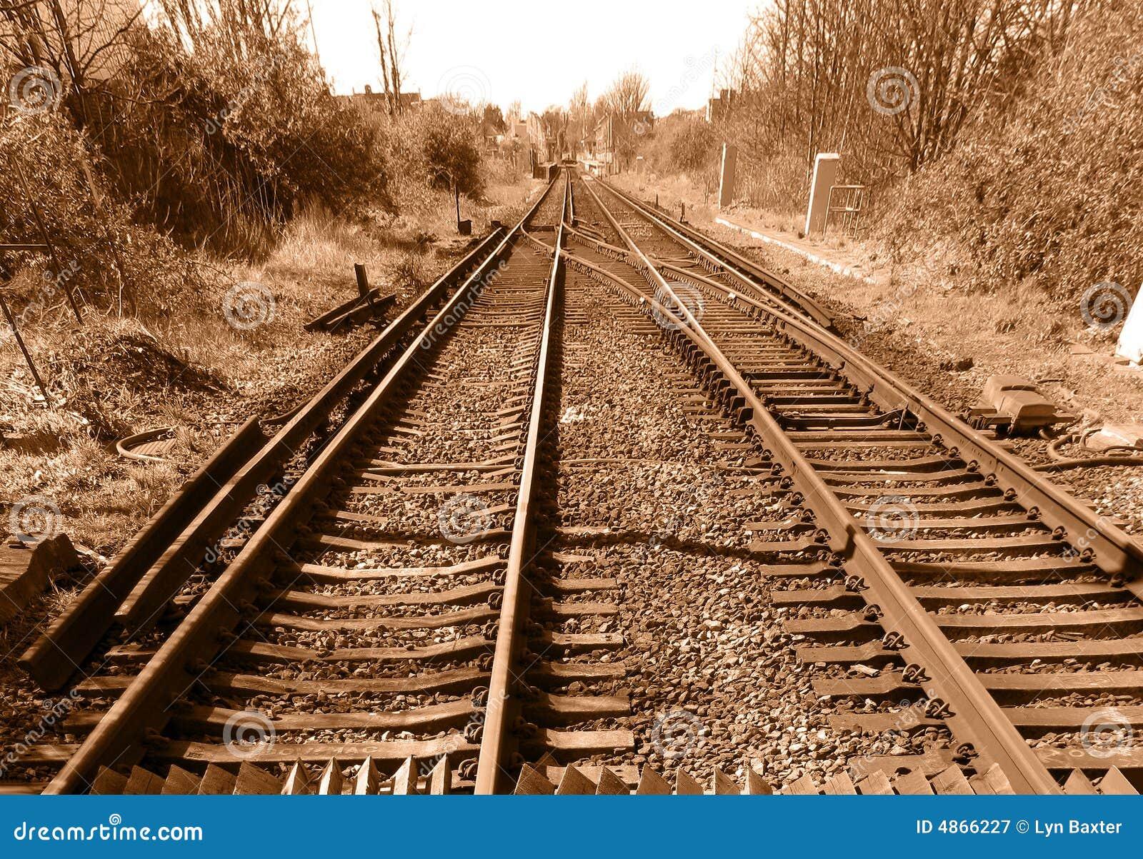 Abandoned Railroad Tracks In Colorado Prairie Stock Photo