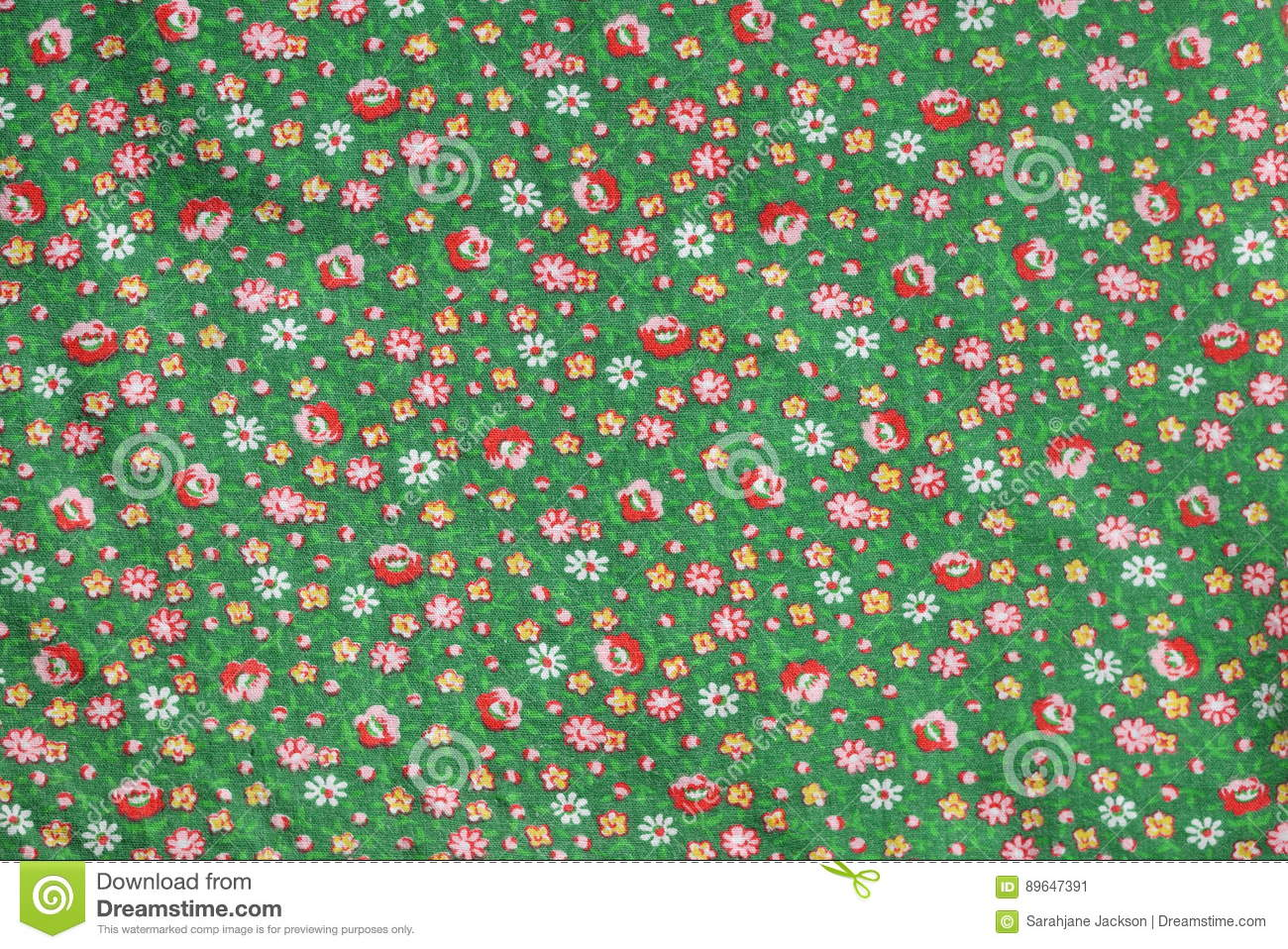 Vintage real fabric 1960s cotton emerald green with red roses and yellow flower pattern