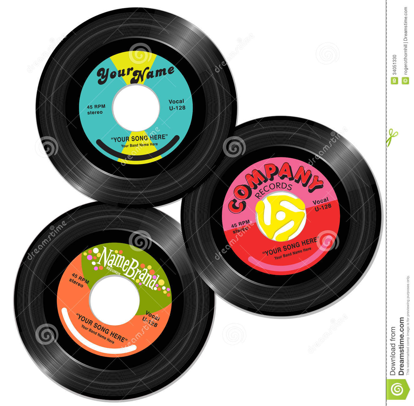 Vintage 45 record label designs set 1 stock photo image for Classic house record labels